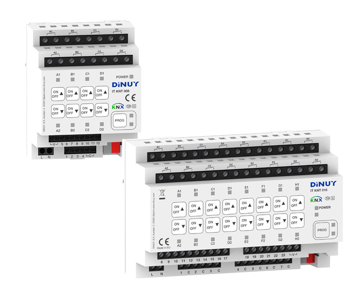 KNX Multifunctional Actuators with 8 or 16 Switching or Blinds/Shutters control output channels